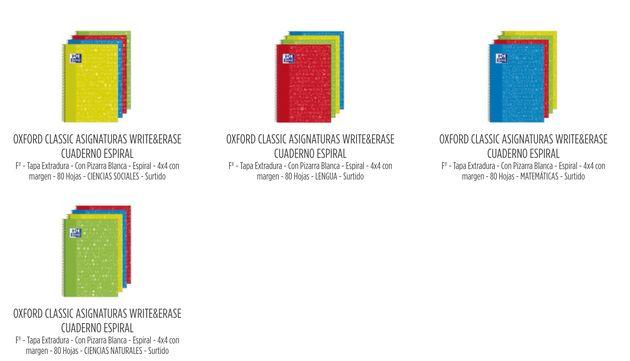 Libretas de Oxford con motivos de las distintas asignaturas en todos los colores