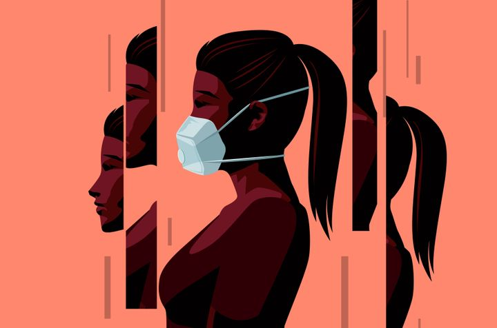 A women wearing a face mask during the Covid-19 coronavirus outbreak and coming to terms with the new normal. Changed lives and mental health concept. Vector illustration