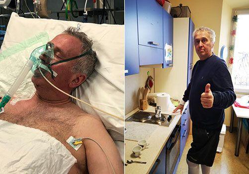 Fausto estubato dopo la prima terapia intensiva e mentre prepara il primo caffè, dopo 80 giorni...