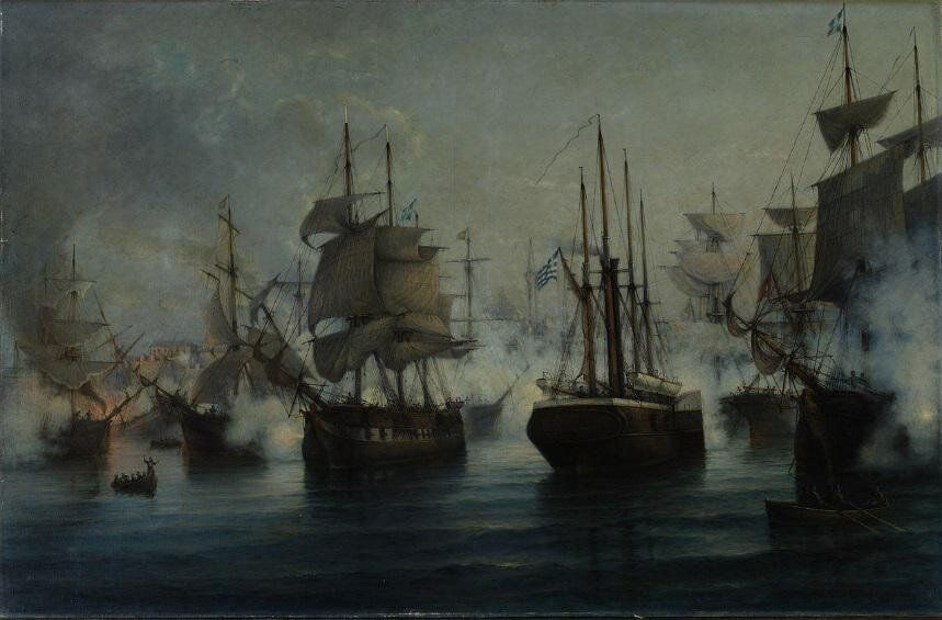 Ναυμαχία της Αγκάλης ή Ιτέας το 1827. Ελαιογραφία του Ιωάννη Πούλακα