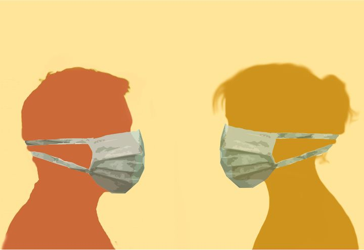 profile image of a man and woman facing each other wearing surgical face masks depicting protection