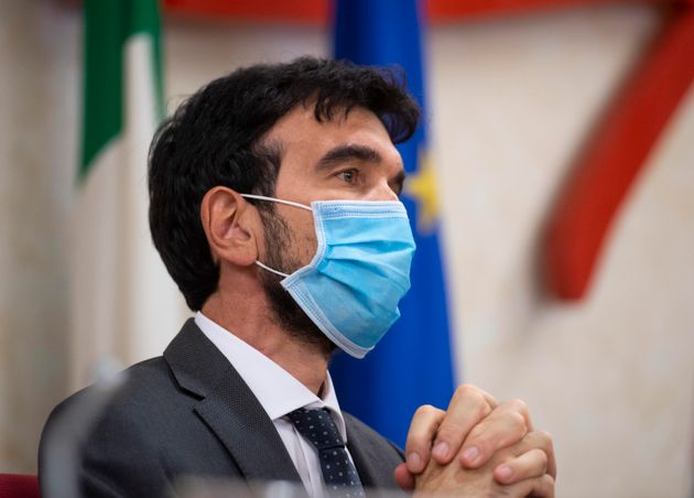 Maurizio Martina durante la conferenza stampa del Partito Democratico per il Si al Referendum presso...