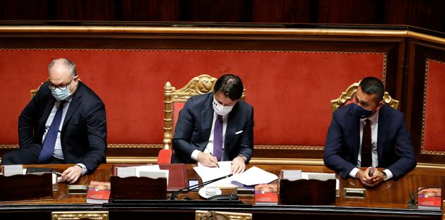 The Italian deputy Roberto Gualtieri, the Italian premier Giuseppe Conte and the Minister of Foreign...