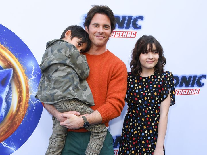 """Marsden brought his son, William, and daughter, Mary James, to the """"Sonic the Hedgehog"""" Family Day Event at Paramount Studio in Los Angeles on Jan. 25, 2020."""
