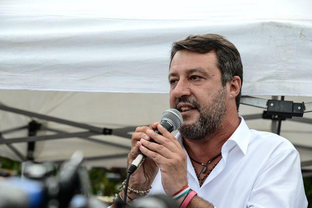 VENARIA REALE, TURIN, ITALY - 2020/09/16: The leader of Lega Nord, Matteo Salvini talks in Venaria Reale...