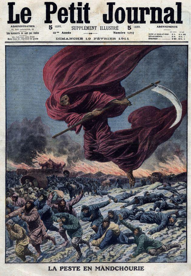 Une illustration de la Faucheuse (allégorie de la mort) au-dessus de la Mandchourie, publiée...
