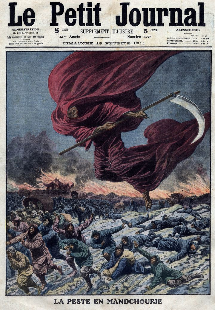 An illustration of the Reaper (allegory of death) above Manchuria, which was published in Le Petit Journal, in France, in 1911.