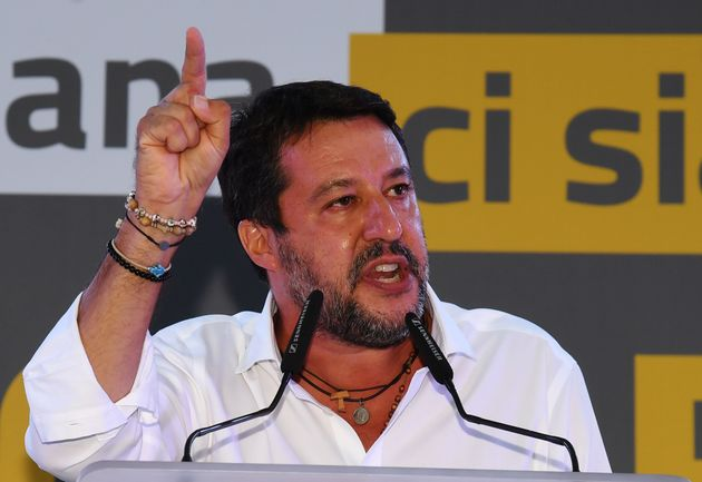 Italian senator and head of the Lega party, Matteo Salvini speaks on stage during a centre-right coalition...