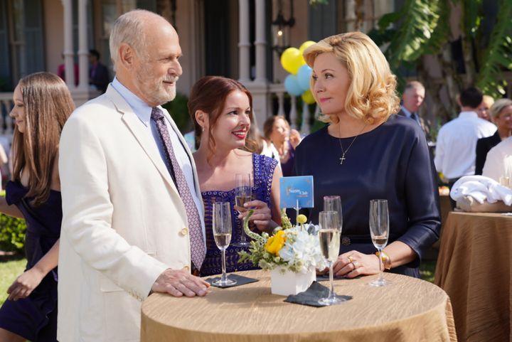 "Gerald McRaney, Aubrey Dollar and Kim Cattrall in ""Filthy Rich"" pilot."
