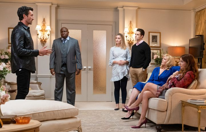 """Left to right, Aaron Lazar, Steve Harris, Olivia Macklin, Corey Cott, Cattrall and Dollar in Fox TV's """"Filthy Rich."""""""