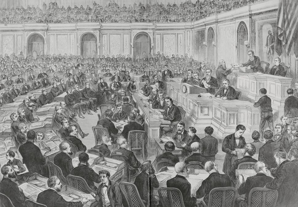 In the controversial presidential election of 1876, the outcomes in four states were in dispute, creating a stalemate that to