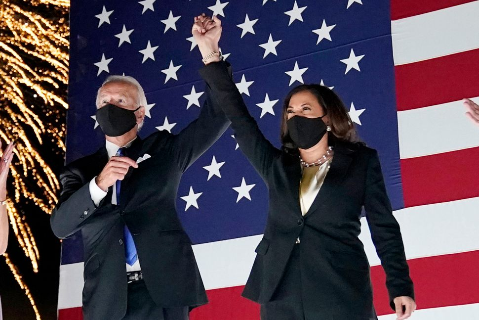Democratic presidential candidate Joe Biden and his running mate, Sen. Kamala Harris of California, lead in the polls with le