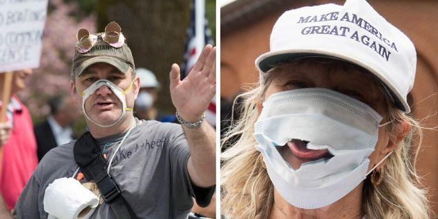 En avril, ces manifestants de l'État de Washington et du Maryland ont porté des masques...