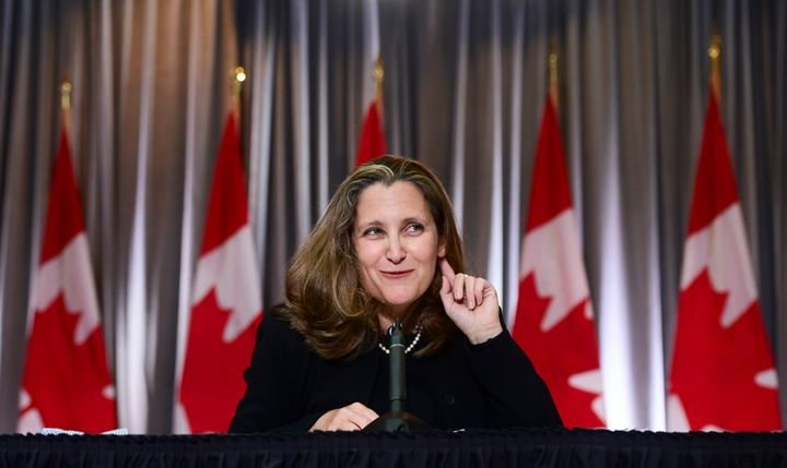 Minister of Finance Chrystia Freeland holds a news conference on the second day of the Liberal cabinet retreat in Ottawa on Sept. 15, 2020.