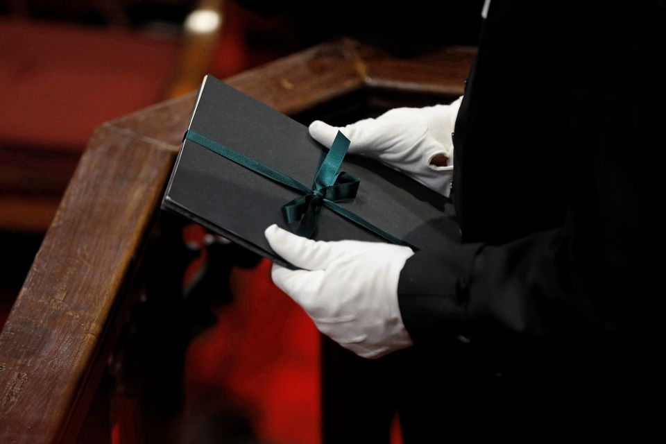 Speaker of the House of Commons Liberal Ontario MP Anthony Rota holds a copy of the throne speech in...