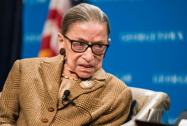 Supreme Court Justice Ruth Bader Ginsburg participates in a discussion at the Georgetown University Law Center on Feb. 10 in