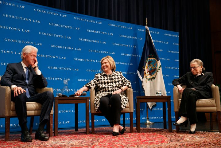 Former President Bill Clinton, left, former Secretary of State Hillary Clinton and Supreme Court Justice Ruth Bader Ginsburg