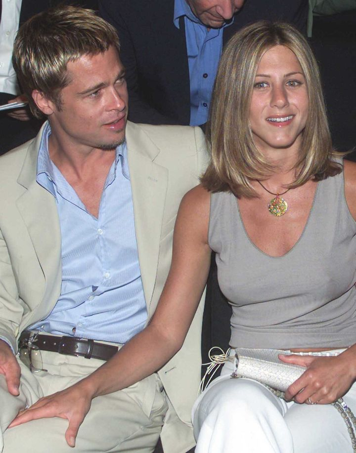 Jennifer Aniston and Brad Pitt in a file photo