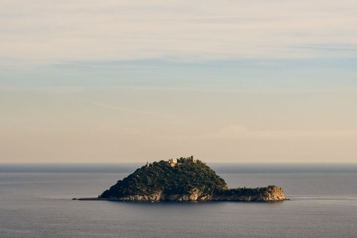 The Gallinara Island (hens island) takes its name from the wild hens that populated it in the past, Alassio, Liguria, Italy