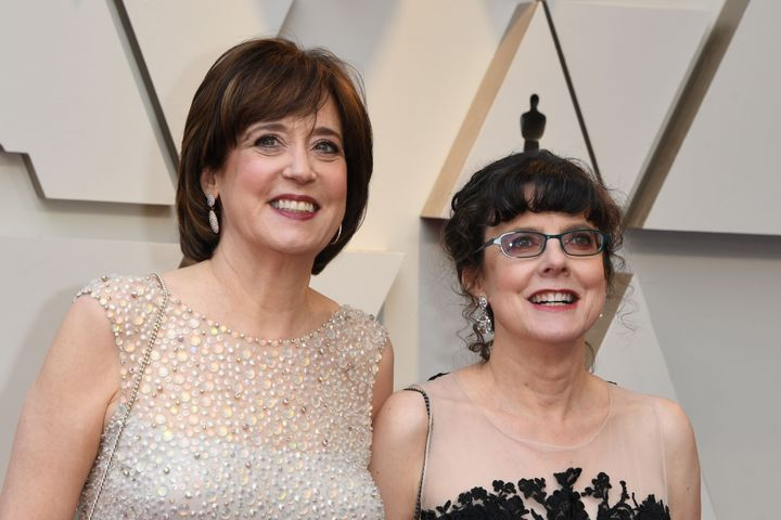 "Betsy West (left) and Julie Cohen at the 91st Annual Academy Awards in February 2019, where ""RBG"" was nominated for Best Docu"