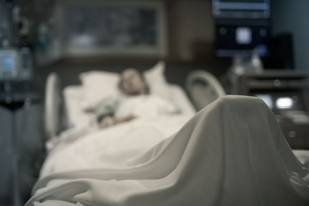 Sick woman lying in the hospital