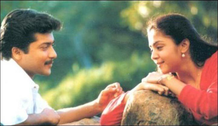 Suriya and Jyothika in a still from the film 'Poovellam Kettuppar'