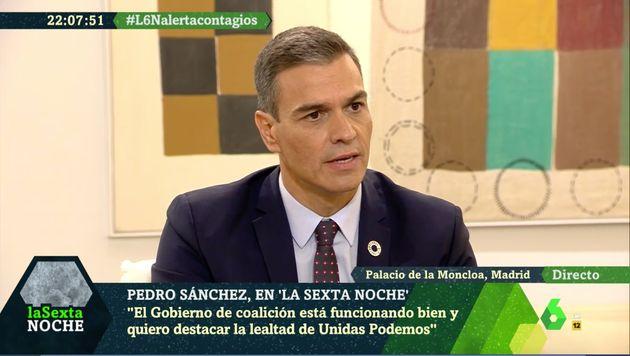 Pedro Sánchez, en un momento de la entrevista en 'La Sexta