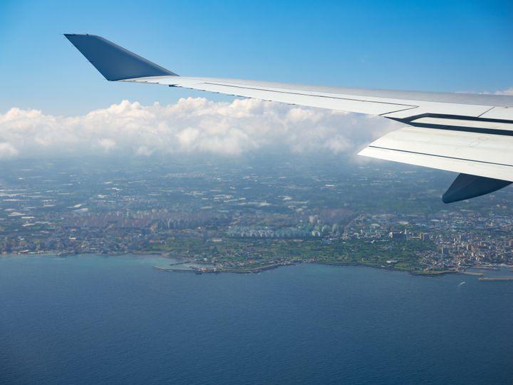 (자료사진) 비행기 안에서 바라본 제주도.