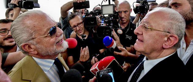 Aurelio de Laurentiis e Vincenzo De Luca in una foto del 13 settembre 2019 (ANSA / CIRO