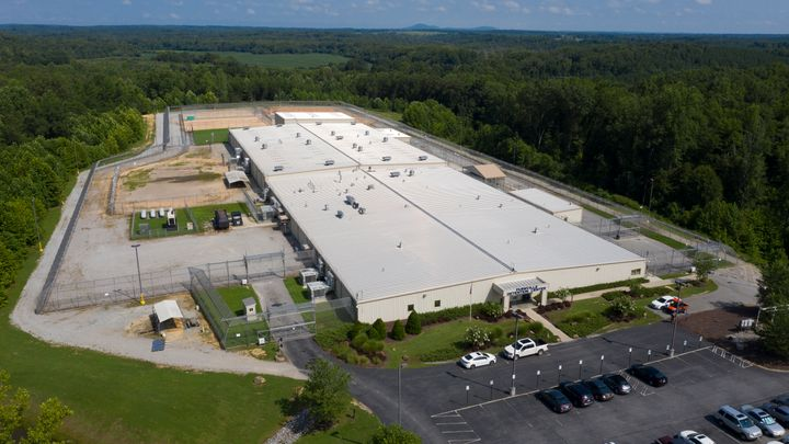 The Farmville Detention Center on Aug. 12, 2020 in Farmville, Va. It has seen the worst coronavirus outbreak of any such facility in the United States.