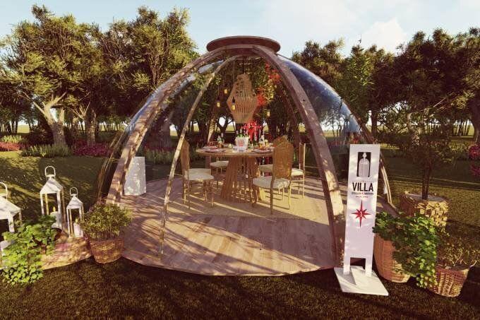 """Apelidadas de """"domos"""", cabines visam promover jantares para até seis pessoas dentro do conceito de """"novo normal"""" e com prevenção contra o coronavírus."""