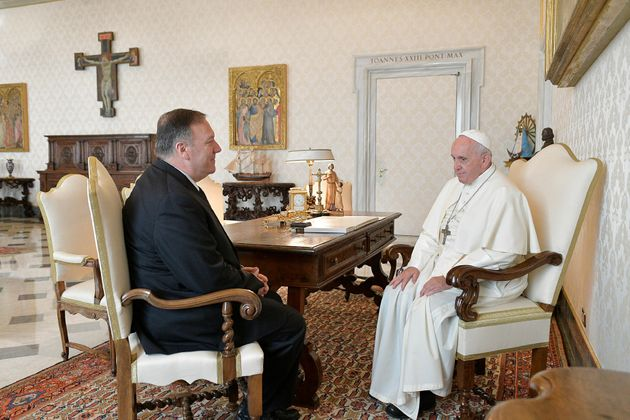 U.S. Secretary of State Mike Pompeo meets with Pope Francis at the Vatican, October 3,