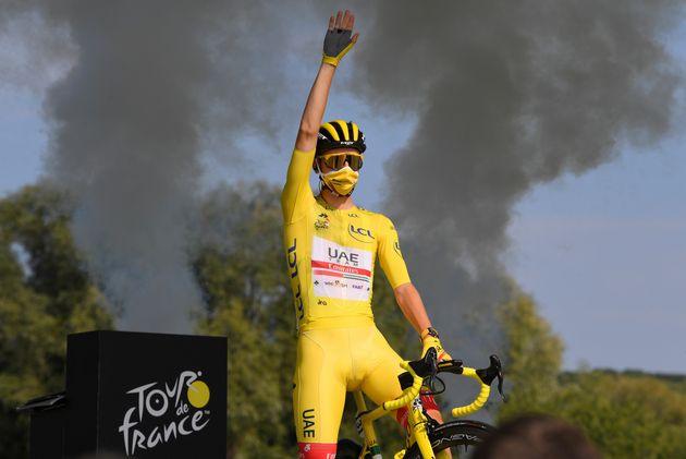 Tadej Pogacar lors de la dernière étape du Tour de France ce samedi 19