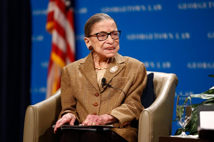 U.S. Supreme Court Associate Justice Ruth Bader Ginsburg speaks during a discussion on the 100th anniversary of the ratificat