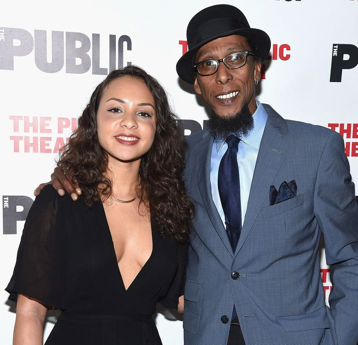 "Jasmine Cephas Jones and Ron Cephas Jones attend the ""Head of Passes"" opening night celebration at The Public Theater on Marc"