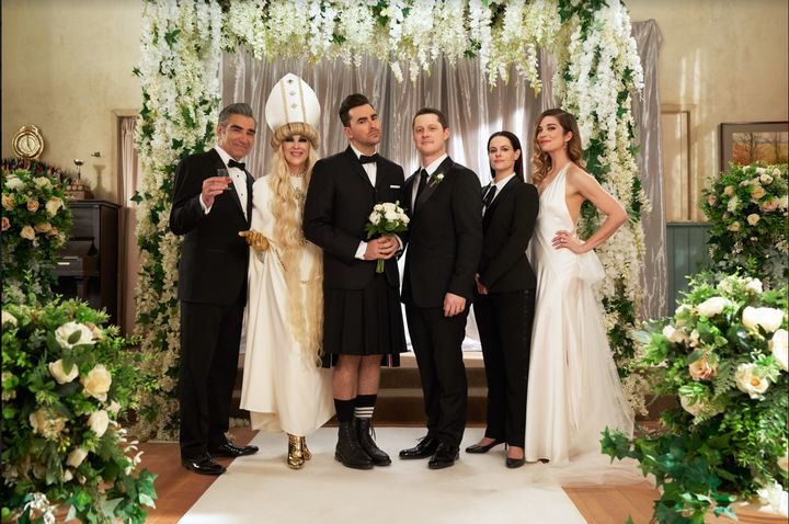 "The cast of ""Schitt's Creek"" in the show's finale episode."