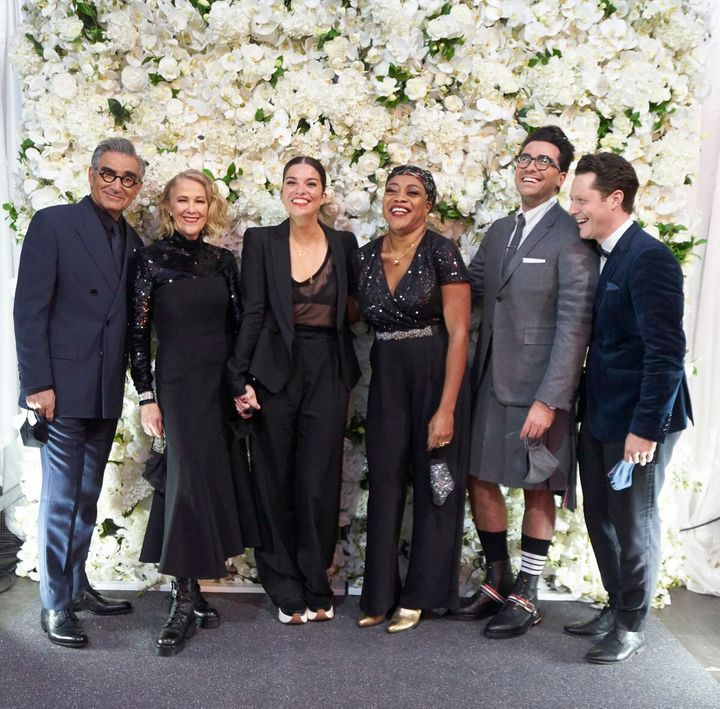 """Schitt's Creek"" cast members Eugene Levy, Catherine O'Hara, Annie Murphy, Karen Robinson, Dan Levy and Noah Reid on Sunday night."
