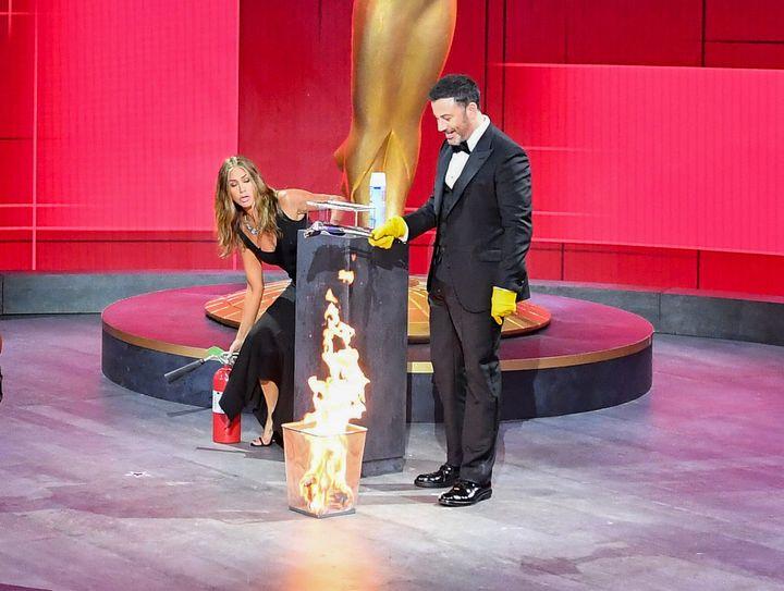 Jennifer Aniston and Jimmy Kimmel at the 72nd Emmy Awards.