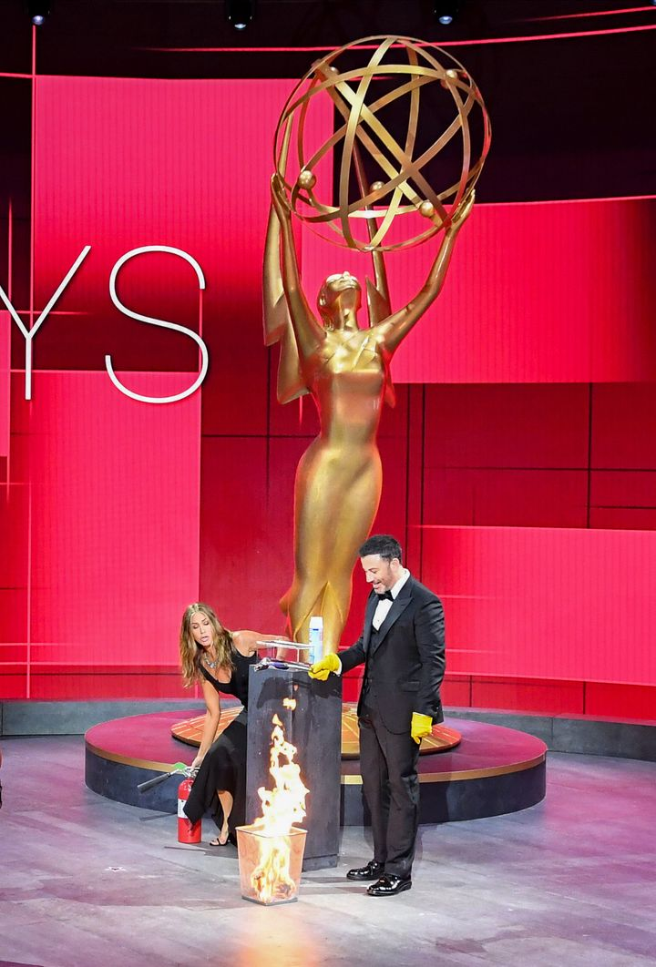 Jimmy Kimmel and Jennifer Aniston at the 72nd Emmy Awards.