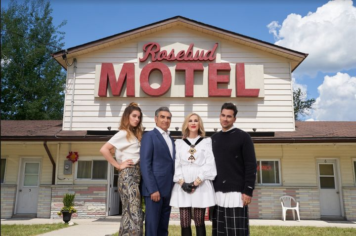 """Annie Murphy, Eugene Levy, Catherine O'Hara and Dan Levy star in """"Schitt's Creek."""""""
