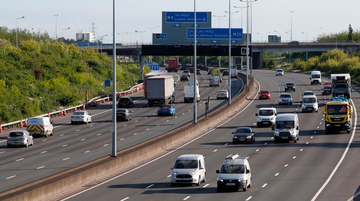 Traffic on the M25 motorway during the morning rush hour near Heathrow Airport west of London on May 11, 2020. A woman fell o