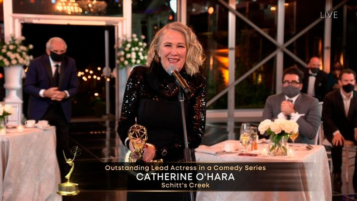 "Catherine O'Hara accepts the Emmy for Outstanding Lead Actress in a Comedy Series for ""Schitt's Creek"" accepts the Emmy for xxx during the 72nd Emmy Awards telecast on Sunday, Sept. 20, 2020 at 8:00 PM EDT/5:00 PM PDT on ABC. (Invision for the Television Academy/AP)"