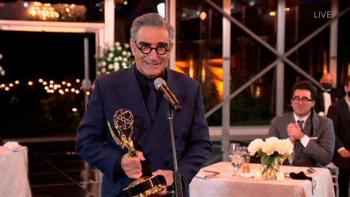 "Eugene Levy accepts the Emmy for Outstanding Lead Actor in a Comedy Series for ""Schitt's Creek"" during the 72nd Emmy Awards telecast on Sunday, Sept. 20, 2020 at 8:00 PM EDT/5:00 PM PDT on ABC. (Invision for the Television Academy/AP)"