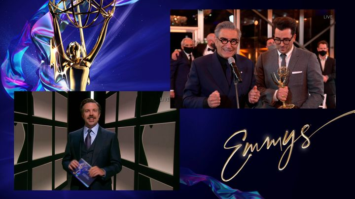 "Jason Sudeikis presents the Emmy for Outstanding Comedy Series to Eugene Levy and Daniel Levy for ""Schitt's Creek."""
