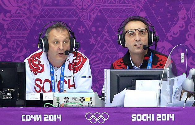Thierry Adam qui adorait le hockey-sur-glace -qu'il commente ici lors des JO de Sotchi en 2014 avec Laurent...