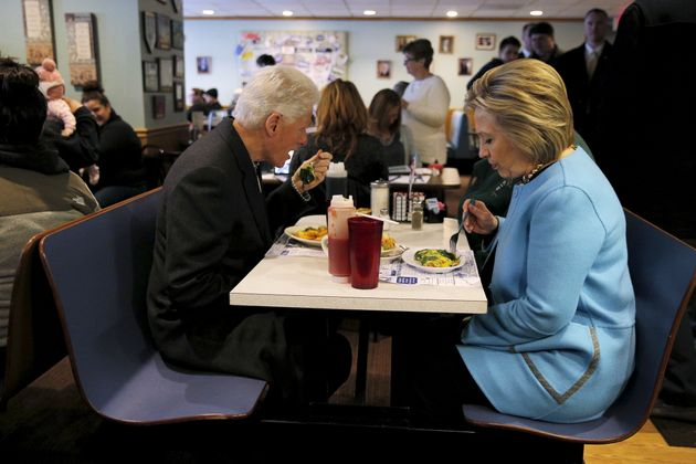 U.S. Democratic presidential candidate Hillary Clinton and her husband, former U.S. President Bill Clinton...