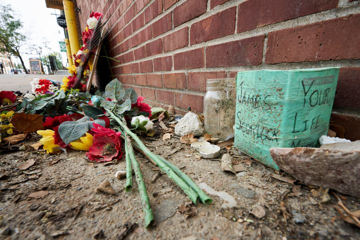 A memorial for James Scurlock remains Wednesday, Sept. 16, 2020, near where he was shot and killed on May 30, in Omaha, Neb.