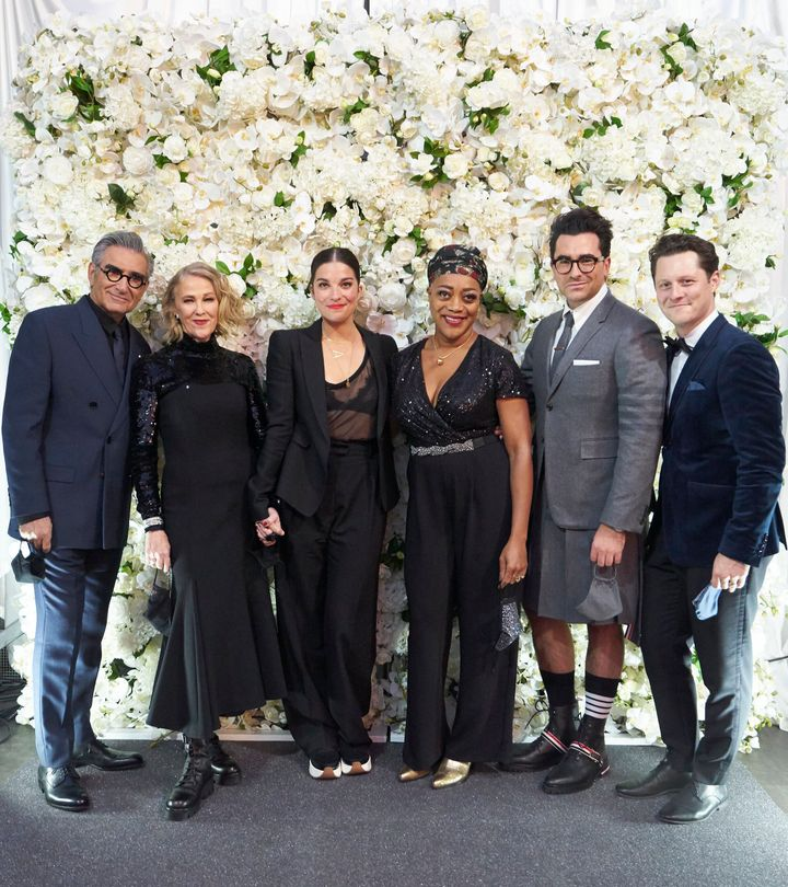 """Schitt's Creek"" cast members Eugene Levy, Catherine O'Hara, Annie Murphy, Karen Robinson, Dan Levy and Noah Reid on Sunday night, before their show swept the Emmys."