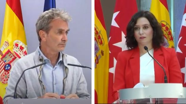 Fernando Simón y la presidenta de la CAM Isabel Díaz
