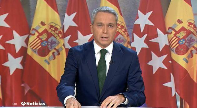 Vicente Vallés en Antena 3 Noticias este